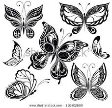 black white butterfliestattoo design stock vector 110402699