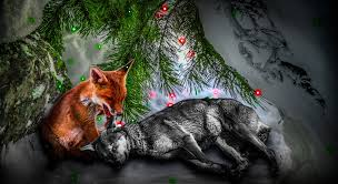 fox and wolf by tmprojection on deviantart