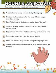 thanksgiving nouns and adjectives 3 worksheets language arts