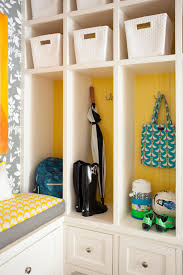 Home Decor Baskets Photos Hgtv Yellow And White Contemporary Mudroom With Baskets