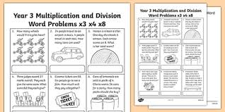 year 3 multiplication and division word problems x3 x4 x8