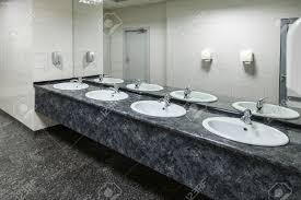 public bathroom mirror reflection