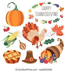 vectors of vector set of flat thanksgiving symbols isolated