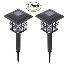 solar powered outdoor l post lights tomshine 0 2 w 2 pack solar powered led garden yard bollard pillar