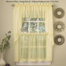 kitchen curtains tiers and valance window treatments touch of class harmony semi sheer tier pair