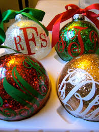 week day 4 monogrammed glitter ornaments