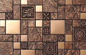 Copper Tiles For Kitchen Backsplash 2018 Rustic Brown Resin Copper Tile Design Fireplace Kitchen