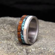 Antler Wedding Rings by Shop Turquoise Inlay Band Ring On Wanelo