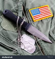 Military Flag Patch Military Dog Tags Boot Knife American Stock Photo 122649790