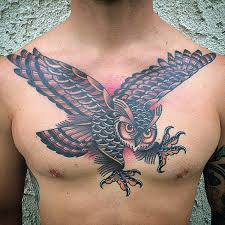 Ideas For Chest Tattoos 70 Traditional Owl Tattoo Designs For Men Wise Ink Ideas