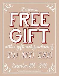 gift card purchase receive a free gift with gift card purchase now through december