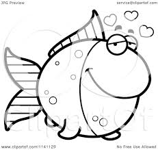 cartoon clipart of a black and white amorous goldfish vector