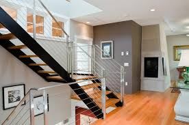 accent wall staircase staircase contemporary with glass railing