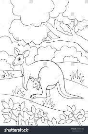 coloring pages mother kangaroo her little stock vector 696843268