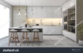 furniture design kitchen 3d rendering white modern design kitchen stock illustration
