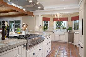 French Kitchen Furniture Saltillo Tiles With Warm Granite Counters This Is It Spanish