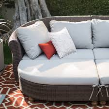 Curved Sectional Patio Furniture - belham living polanco curved back all weather wicker sofa daybed