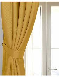 Blackout Yellow Curtains Mustard Yellow Ochre Herringbone Chevron Curtains Tie Backs Pair