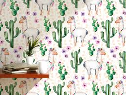 temporary self adhesive removable wallpaper cactus flowers and