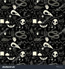 seamless pattern skulls skeletons animals halloween stock vector