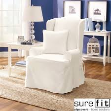 furniture white sure fit twill supreme wing for recliner slipcovers