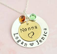 personalized necklace for grandmother pendant with birthstones family necklace gift for
