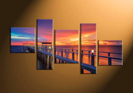 Home Wall Art Decor 5 Piece Sunrise Landscape Red Group Canvas