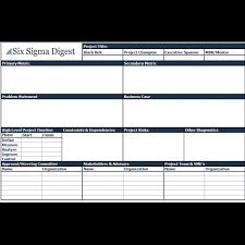 Six Sigma Excel Templates Project Charter Template