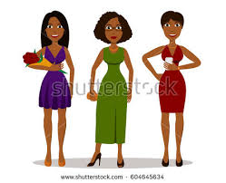 pretty cartoon african girls different party stock vector