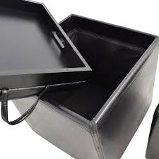 black leather storage ottoman with tray 70 off black leather storage ottoman with smaller ottoman chairs