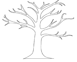 printable tree template with leaves coloring pages kids