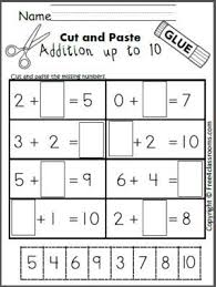 free cut and paste addition math worksheet for adding up to 10