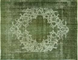 Green Persian Rug Tabriz Collection Jungle Green Overdyed 10 U0027x14 U0027 Hand Knotted Wool