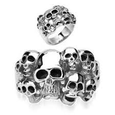 surgical steel band skull and pyramid combination cast band ring stainless steel