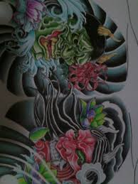 chest tattoo design hannya masks chest tattoo design coloured by crimeskull on deviantart