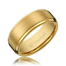 brushed gold wedding band 8mm men s titanium gold plated ring wedding band with flat brushed