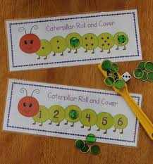 caterpillar roll and cover differentiated math activity for
