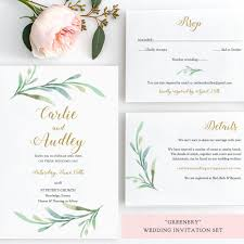 greenery wedding invitation set templates printable wedding