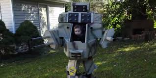infant monsters inc halloween costumes dad and baby conquer halloween with this homemade mechwarrior