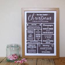 personalised family christmas traditions print by applemint