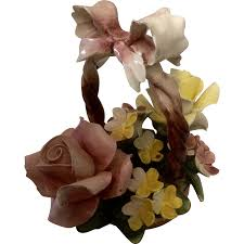 basket arrangements capodimonte italy porcelain flowers in a basket arrangement