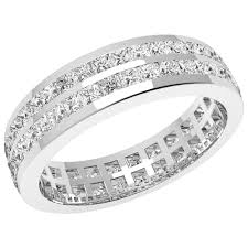 18ct white gold wedding ring row diamond set eternity wedding band in 18ct white