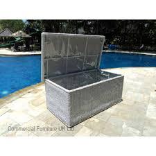 Patio Cushion Storage Monte Carlo White Rattan Outdoor Waterproof Storage Box