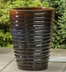 ocean wave tall planter set of 3 in cognac glazed and ceramic
