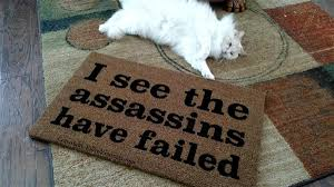 Welcome Doormats I See The Assassins Have Failed Funny Custom Handpainted Welcome