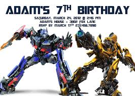 optimus prime birthday party template free transformers optimus prime birthday invite with