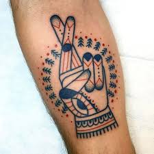 50 fingers crossed tattoo designs for men hand gesture ink ideas