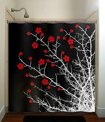 Red And Black Bathroom Accessories by Floral Branch Flower Cherry Blossom Tree Shower By Tablishedworks