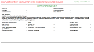 Hotel Security Job Description Resume by Hotel Recreational Facilities Manager Employment Contract