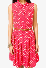 forever 21 belted polka dot shirtdress in white lyst